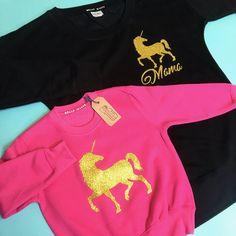 Unicorn Sweaters: Grey & Pink, matching unicorn sweatshirts, matching unicorn outfits, unicorn sweater, unicorn sweatshirt, unicorn girls jumper