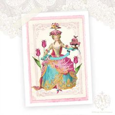 Marie Antoinette greeting card I Love Cake Shabby by mulberrymuse,