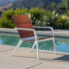 Vaya chair shown with White Texture powdercoated frame and FSC® Cumaru hardwood slats Outdoor Chairs, Outdoor Furniture, Outdoor Decor, Surface Table, Lounge Chair Design, Urban Setting, White Texture, Industrial Furniture, Recliner