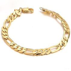 Prime Leader Fashion Jewelry Fashion 18K Gold Plated Powerful Men'S Bracelet Chain Link Wristband Gift Never Fade Brand New * Find out more details by clicking the image : Gift for Guys