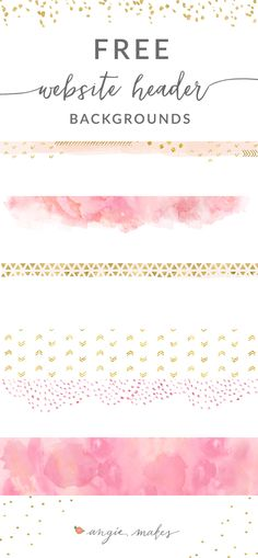 FREE Website Header Backgrounds Download by Angie Makes. A Collection of Cute Gold + Pink Website Header Backgrounds. Complete your Blog Design by Adding a Little Bling. :)