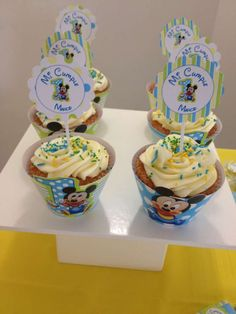 Baby Mickey Mouse birthday party cupcakes! See more party ideas at CatchMyParty.com!