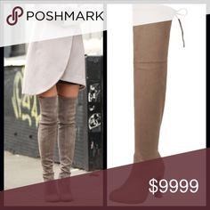 """ALMOST GONE‼️WEEKEND SALE‼️Over the Knee Boots Gorgeous vegan suede over the knee boots! These are insanely soft & so sexy! ⭐️4"""" Heel ⭐️Tie at Top  ⭐️Smooth Vegan Suede ⭐️Can Tighten Tie at Top for perfect snugness  ⭐️Super Soft ⭐️Fitted/ Pull On Style(no zipper) ⭐️A Celebrity Top Trend for Fall 🚫Trades/ PayPal or Mercari *️⃣Price Firm Unless Bundled Shoes Over the Knee Boots"""