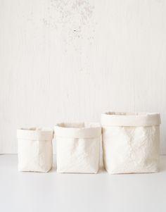 French country cottage style storage baskets. White cotton canvas bathroom storage. Home decor. Scandinavian interior design. Stylish. Spa. Handmade Etsy