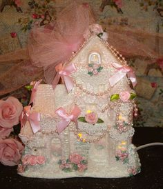 Shabby Pink Victorian Christmas Village House Chic HP Rose Glitter Pink Ornament in Collectibles, Holiday & Seasonal, Christmas: Current (1991-Now)   eBay