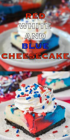 Swirls of colors make these Red, White and Blue Cheesecake Bars a fun dessert to share at holiday parties this summer. Great for Fourth of July! of july food desserts homemade recipe Red, White and Blue Cheesecake Bars Patriotic Desserts, 4th Of July Desserts, Fourth Of July Food, Desserts To Make, Köstliche Desserts, Summer Desserts, Holiday Desserts, Holiday Recipes, Delicious Desserts