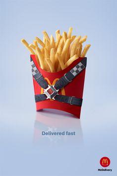 McDelivery - Delivered fast on Behance Food Advertising, Creative Advertising, Advertising Poster, Advertising Design, Advertising Campaign, Food Poster Design, Ad Design, Graphic Design, Ads Creative