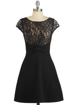 Lady of the Hour Dress. As you rise to accept your award, the bow detail and delicate lace of this cap-sleeved, black dress make quite a style statement! #black #modcloth