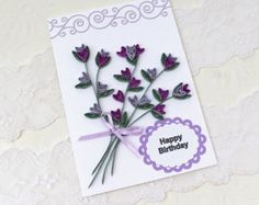 Paper Quilling Card Paper Quilled  Purple and Lilac  Lavender Heartflower Spray Birthday Handmade Australia