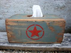 FREE SHIP Rustic Distressed Army Star Vintage Inspired Wood Tissue Box by TheUnpolishedBarn on Etsy, $44.99
