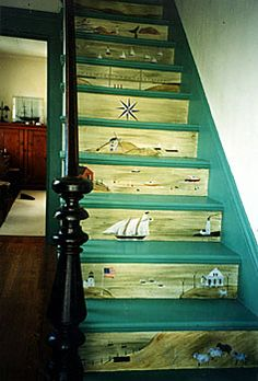Hope R. Angier - Fireboards, Theorem Paintings, Wallhangings, and Murals - Stair Riser Murals Painted Stair Risers, Painted Staircases, Beautiful Stairs, Stair Steps, Stair Treads, Stair Decor, Stairway To Heaven, Painted Floors, Stairways