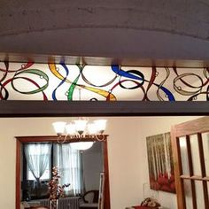 """Stained Glass Transom - """"Colorful Ribbons"""" (Tw-77) by Donna Terraza"""