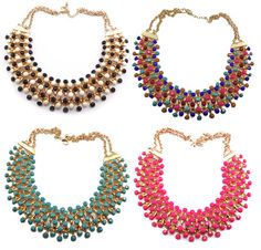 Layered Statement Necklace - 7 Colours| eBay $12