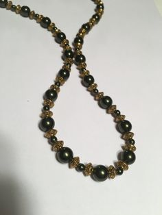 Dark olive green and carved gold handmade by TheSapphireGirl