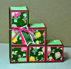 """I made this block card with a A4  piece of card stock cut in half. This way you get 2 cards out of 1 A4. It's slightly smaller (1cm) than the card made with inches out of a 4.5"""" x 12"""" piece of card stock. There is a photo tutorial with measurements on my blog."""
