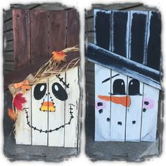 Two sided pallet scarecrow snowman Wood work Madera navidad Snowman Crafts, Halloween Crafts, Holiday Crafts, Holiday Fun, Holiday Signs, Halloween Stuff, Halloween Makeup, Pallet Christmas, Christmas Crafts