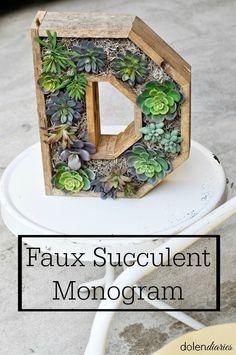 Faux Succulent Monogram