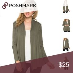 [calla lily] Beautiful cardigan sweater  Colors available: Olive Green, Mauve Sizes: Small, Medium, Large, XLarge Fabric: 95% Rayon, 5% Spandex; 🇺🇸  Condition: New with tags  Please ask all questions before purchase.  Bundle Discount: 10% on 2+ items.  Typically ships within 24 hours.   Follow along on Instagram, Snapchat, Twitter & Facebook: @flowersandgray  xo, Jess Flowers and Gray Sweaters Cardigans