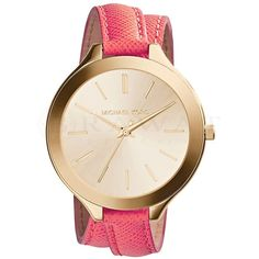 Michael Kors Slim Golden Double-Wrap Stainless Steel/Leather Runway Watch from Michael Kors. Saved to watches. Bracelet Cuir, Bracelet Watch, Michael Kors Factory Outlet, Leather Watch Bands, Wrap, Contemporary Fashion, Handbags Michael Kors, Michael Kors Watch, Red Leather