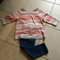 New Striped Top New never worn gray/coral striped top. Sonoma Tops