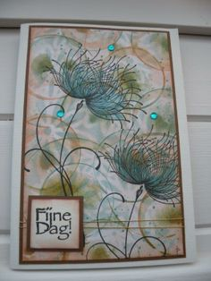 "By Laurette Paelinck. Stencils. Sponging. Stamping. Flower stamp is ""Dreamy"" by Penny Black."