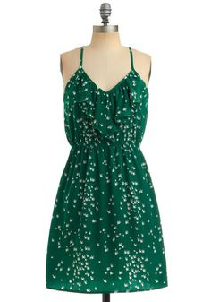 The white areas are birds, thus giving this ruffled dress the name: You Flight Up My Life Dress from Modcloth $47.99