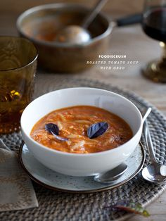 Roasted Tomato Basil Soup from foodiecrush.com