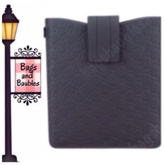 """Nice! GUCCI Guccissma iPad Sleeve, Gray Perfect for gift giving. Excellent Pre-Loved Condition. Gucci GG Guccissma rubber iPad case in charcoal gray. Top flap with Velcro closure with suede-like interior to protect your device.  Includes original packaging (box, tissue, tag). Measures 10""""H x 9.5""""W x .25""""D.  [#105]  Always Authentic 
