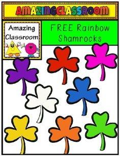 Brighten up your St. Patrick's Day lessons and activities with these FREE, bright and colorful shamrocks.  This file contains 8 shamrock images, in the colors of the rainbow, as well as one white image. All images are high-quality, transparent png images, meaning no white background around them.