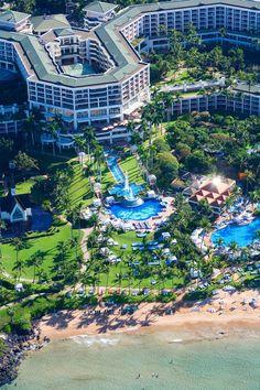 Aerial view Grand Wailea Resort Hotel and Spa, Maui, Hawaii.