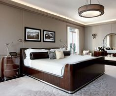 Worth-Trying Bedroom Ideas for Men: Contemporary Bedroom Ideas For Men With Drum Shade Ceiling Lamp And White Area Rug On Hardwood Flooring Ideas ~ rudedogdesigns.com Apartments Inspiration