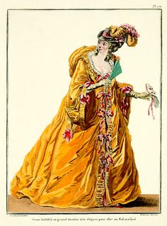 1783 Grand Domino French Fashion Plate from the 1912 re printed edition of Galleria des Modes