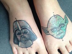 my Star Wars Fan-tattoo :) #starwars #tattoo #feet #darthvader #yoda