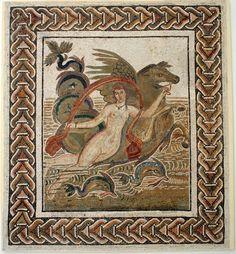 An ancient Roman mosaic in El Jem Museum in Tunisia.