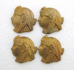 Vintage Brass Stamping Egyptian Pharaoh by BumbershootSupplies