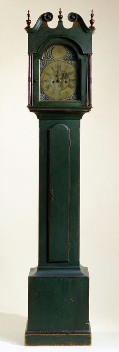 Chippendale painted tall-case clock, New Haven C1794.