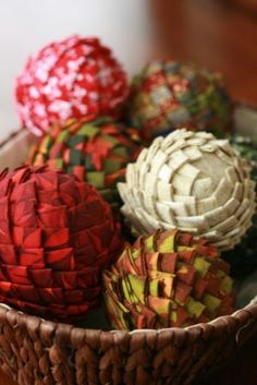 Decorative fabric covered styrofoam balls- made to look like pine cones with festive christmas fabric but this could work for everyday decorations as well