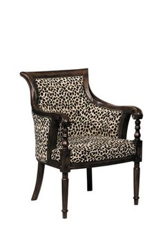 Gentil Animal Print Arm Chair With A Wood Frame And Nailhead Trim. Product:  ChairConstruction Material: Wood And FabricColor: Dark WalnutFeatures:  Nailhead Trim ...