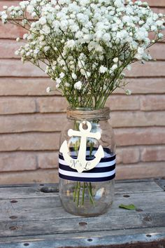 personalized anchor centerpiece mason jar . nautical wedding jar decor . navy blue and white stripes ribbon pen holder by MontanaSnow on Etsy (null)