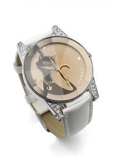 Grace Cat Crystal Decor Watch