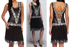 BLACK SEQUIN CHARLESTON FLAPPER uk 8 10 12 14  GATSBY dress 20's ART DECO #frockandfrill #20s #Cocktail