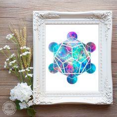 Dodecahedron Sacred Geometry Digital Download Print - Boho Print Galaxy Print Watercolor Geometric Print Grunge Platonic Solids Printable by AgeOfAkuarius on Etsy https://www.etsy.com/listing/260754828/dodecahedron-sacred-geometry-digital