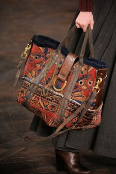 Ralph Lauren Fall Mary Poppins has a new carpet bag. Fashion Bags, Fashion Accessories, Vintage Accessories, Ethnic Bag, Carpet Bag, Boho Bags, Boho Gypsy, Beautiful Bags, Purses And Handbags