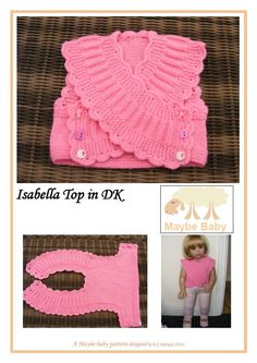 Isabella Baby vest. The crossover fronts curve in because of the short rows along the neckline. ~~ bebek yeleği