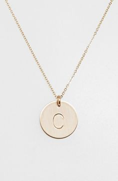 http://www.fashionnewswebsites.com/category/initial-necklace/ Nashelle 14k-Gold Fill Initial Disc Necklace | Nordstrom One of these with an M