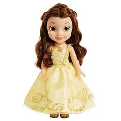The Disney Beauty & the Beast Live Action Ballroom Belle Doll is dressed in her beautiful yellow ball gown with gold details and her iconic necklace. Belle Toddler Doll, Toddler Dolls, Disney Barbie Dolls, Disney Princess Dolls, Toys R Us, Belle Toys, Princess Beauty, Disney Beauty And The Beast, Beauty Beast