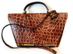 SALE Vintage 1960s Bag Crocodile Leather Shoulder Purse One-of-a kind on Etsy, $165.00