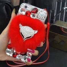 Luxury The fox head Bling Warm Soft Beaver Rabbit Fur Hair phone cases for SAMSUNG S5. Click visit to buy #RhinestoneCase #rhinestone #case