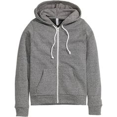 H&M Hooded jacket ($21) ❤ liked on Polyvore featuring outerwear, jackets, hoodies, tops, dark grey, lined jacket, zip jacket, hooded jacket, h&m jackets and zipper jacket
