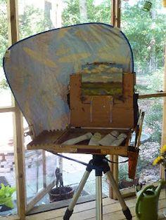 Plein Air Hack: Makeshift umbrella from car shade.  Painting my World: A Great Idea for Plein Air Shade